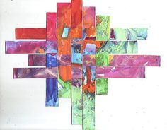 Abstract  Art Weaving  -  Original  unique Watercolor Painting Collage by  ebsq Artist Ricky Martin -  FREE SHIPPING
