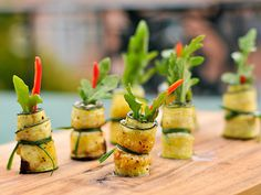 Zucchini wrapped goat cheese