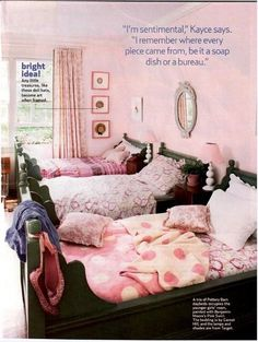 i have this bed in blue and love it. this is a darling room!