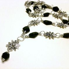 Black and Silver Flower Necklace Black Necklace by cdjali on Etsy, $18.00
