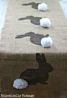 HA, too cute! Bunny Burlap Runner - Stencil first and then add the pom!