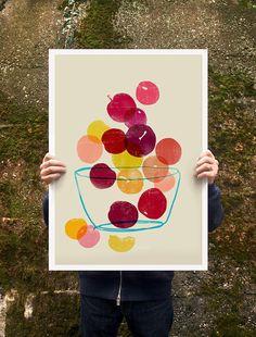 Kitchen Art plum poster print | Anek on Etsy