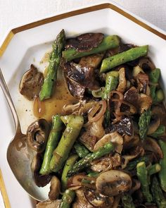 Mushrooms and Asparagus with Sherry Vinaigrette Recipe -- ready to eat in just 30 minutes