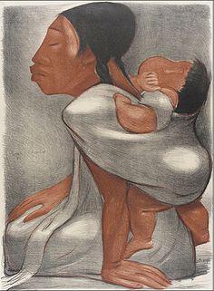 Mother Carrying Child on her Back (Mujer cargando un niño en la espalda), Jean Charlot, 1934. Gift of Merle Armitage, 40.2.1, LACMA. © Jean Charlot Estate LLC