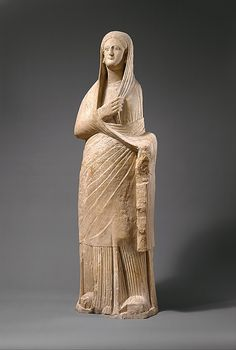 Limestone statue of a veiled female votary    Period:      Late Hellenistic or early Republican  Date:      1st century B.C.  Culture:      Cypriot  Medium:      Limestone
