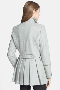 Cute Calvin Klein Pleat Peplum Double Breasted Wool Blend Peacoat