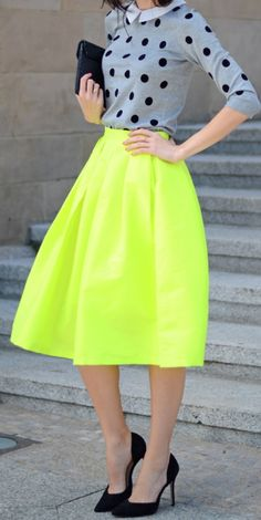 midi skirts, full skirts, polka dots, circle skirts, fashion styles, street style, skater skirt, neon colors, neon yellow