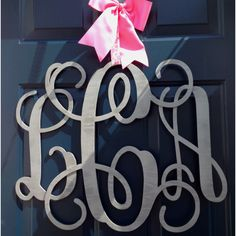 monogram door wreath.. Never thought I'd like monograms but this is cute