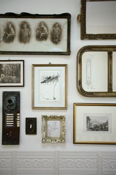 wall of frames  #interior #wall #collage #decor #vintage #white