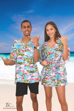 Cutest Couples Set - Blue Flamingo Mens Hawaiian Shirt and Ladies Poncho. Go in exact matching clothing to your next party, cruise, luau or festival. Available individually on our Amazon store. #couplematching #matchymatchy #luauclothing #fancydress #flamingoparty #flamingoshirt #flamingodress #flamingomatching #cruise #cruisewear #festival #festivalclothing #festivalfashion #uniforms