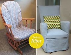 recover glider rocker, glider rocker makeover, living rooms, diy tutorial, rocking chairs, recovering glider rocker, nurseri, baby sewing projects, babies rooms