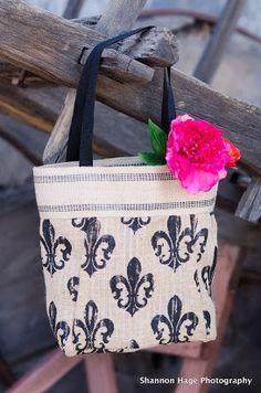 Fleur De Lis Burlap Tote Bag by BBELLECOUTURE on Etsy, $48.00
