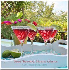 Frost Stenciled Martini Glasses