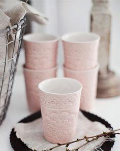 Pink cups, love the pattern/texture on it!  made by Mia Blache: http://www.miablanchekeramik.se/www.miablanchekeramik.se/Mia_Blanche_keramik.html