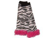 Black & White Zebra Print with Hot Pink Chiffon Ruffles Leg Warmers, Girls, Infant, Toddler