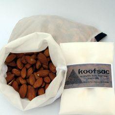 Eco bag - reusable bulk bin food bag for grains, legumes, nuts - natural silk by Kootsac