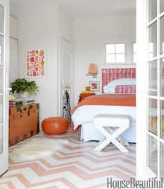 painted chevron floor in pink and white