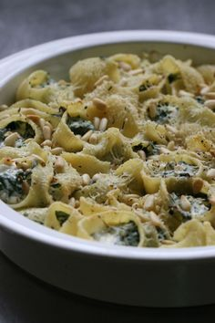Stuffed pasta shells with spinach, ricotta and pine nuts