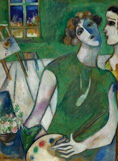 #MarcChagall, Autoportrait en vert (1914)