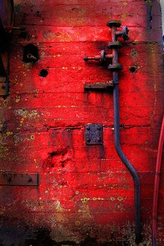 by Vónbjørt, via Flickr #red red decay, color red, red texture, flickr red, door, roug, pools, vónbjørt, red walls