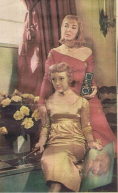 Children's book author Dare Wright and her mother - the red dress is made from an 18th century church robe.