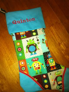 Custom Robot Christmas stocking for little boy