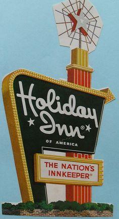 1960s HOLIDAY INN Sign Graphic Illustration Vintage Advertisment Magazine Clipping, via Flickr.