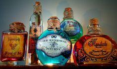 5 Potion Bottles Halloween Decoration Prop - Mandrake, Hemlock, Blood of Bat, Mugwort, Life Renewal