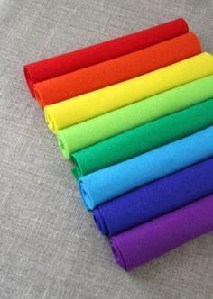 wool felt, 100% pure new wool felt bundle of 8, rainbow
