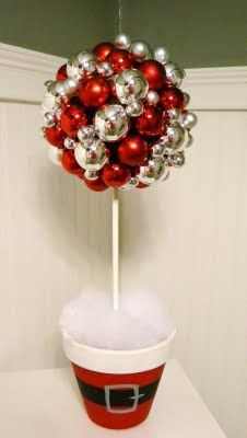 Christmas Table Topiary -- clay pot painted with Santa belt, ornaments glued onto styrofoam ball suspended on painted dowel. Holiday, Christmas Time, Christmas Crafts, Xmas, Diy Ornaments, Christmas Decor, Christmas Ideas, Diy Christmas, Christmas Topiaries