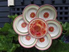 Plate Flower Art Decor for the Garden. $40.00, via Etsy.