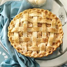 Day Nineteen of Taste of Home's Thanksgiving Countdown: Lattice-Topped Apple Pie Recipe shared by Anne Halfhill of Worthing, Ohio