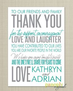 Wedding Reception - Thank You Place Card