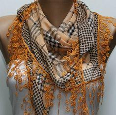 Plaid  Scarf    by Fw.  $17.00 lace, scarf cotton, fashion scarves, polka dots, scarf cowl, fashion styles, cotton scarf, cowls, plaid scarf