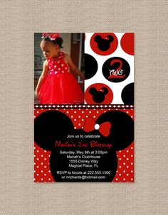 Printable Polka Dot Red Minnie Mouse Birthday Party Invitation