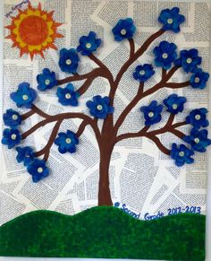 Student generated flowers pop out of this canvas artwork with book pages background
