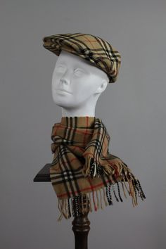 Vintage 60s Mens Burberry Hat Scarf . News Boy by snootieseconds, $79.99