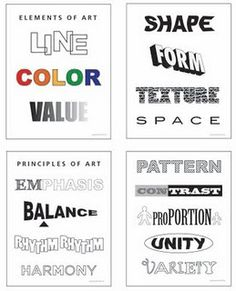 downloadable charts illustrating principles and elements of art/design