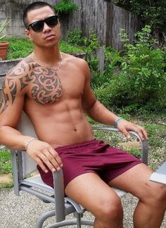 Hot tattoo.  Shirtless Asian