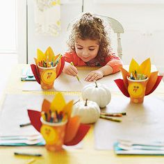 Thanksgiving Crayon Caddy: This adorable turkey makes a festive addition to the holiday kids' table. Each holds enough drawing supplies to keep young guests entertained right through dessert.