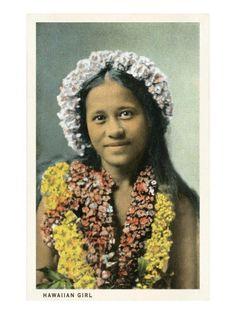 Hawaiian Girl with Leis