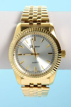 Classic Gold Watch - Boyfriend Watch - Stretch Watch - $20.00