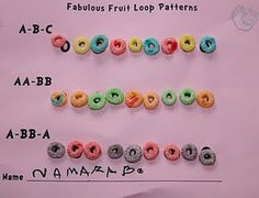 Fruit Loop Patterns - good idea just to work on basic patters with pre schoolers because they can have fun and a snack all at the same time