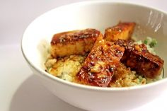 Glazed Caribbean Tofu with Sweet Rice
