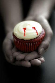 """Red Velvet """"Vampire Bite"""" Cupcakes"""