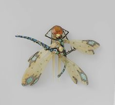 Haarkam in de vorm van twee libellen, Lucien Gaillard, ca. 1904 emeralds, dragonfly art, dragonfli, diamonds, lucien gaillard, insect jewelri, art nouveau, enamels, hair combs