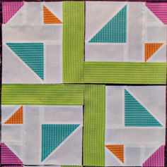 @Holly DeGroot has a new quilt block pattern that will make you feel like you're looking right through the eye of a kaleidoscope. Combine playful colors and geometric shapes along with a twister quilt pattern style to make a simple, but very modern looking block pattern.