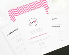 Black and Hot Pink Wedding Invitations