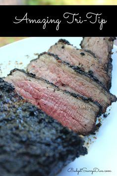 Perfect for a BBQ - FULL of flavor and easy to make. Gluten - Free beef tri tip, gluten free grilling, tri tip grill, grilling recipes beef, tritip recipes, rosemary tritip, crust
