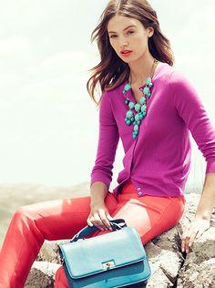 j. crew fashion model color palettes, statement necklaces, color combos, j crew, spring colors, color combinations, bold colors, bubble necklaces, bright colors